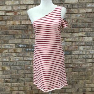 Anthro Maeve red stripe one shoulder dress, Sz XS